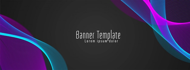 Modern stylish wavy black banner background