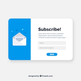 Modern subscription pop up with flat design