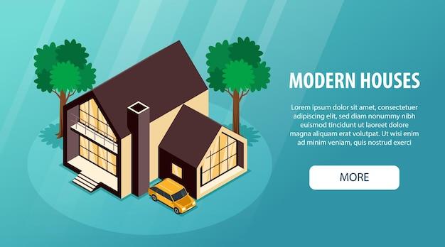 현대 교외 지역 주택 아이소 메트릭 방문 페이지 프리미엄 벡터