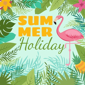 Modern summer  background with flamingo and tropic plant decoration