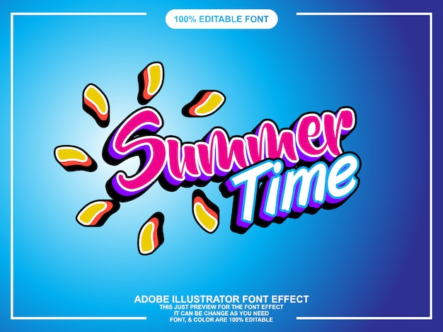 Modern summer editable illustrator text effect