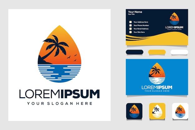 현대 여름 야자수와 바다 로고 디자인