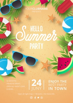 Modern summer party poster