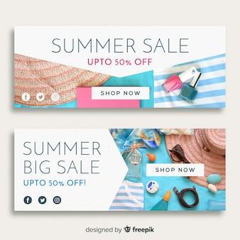 Bandiere di vendita di estate moderna con foto