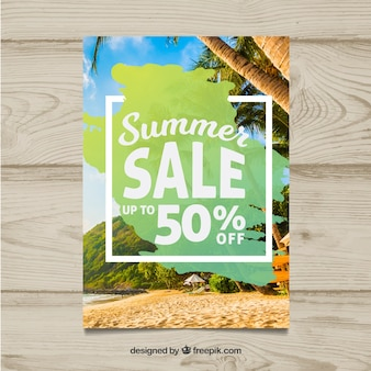 Modern summer sale flyer template with image
