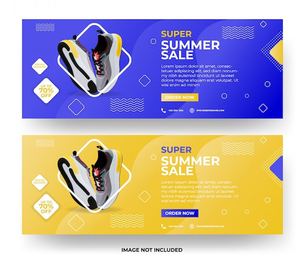 Современная летняя распродажа веб-баннер набор шаблонов