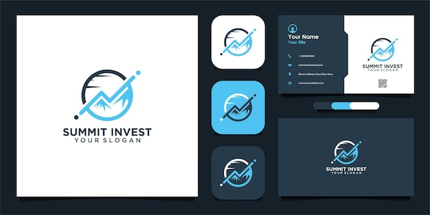 Modern summit investment logo design and business card