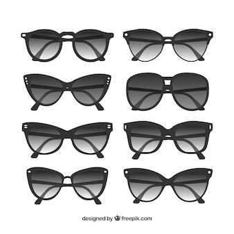 Collezione di occhiali da sole moderni in stile piatto
