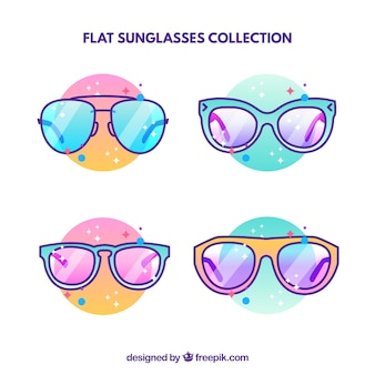 Modern sunglasses collection in flat style
