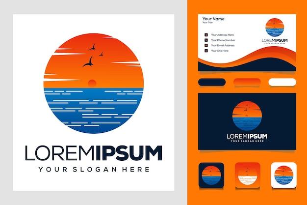 現代の日没の夏のロゴテンプレートロゴデザインと名刺