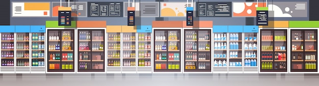 Modern super market empty interior retail store, supermarket with assortment of grocery food horizontal banner