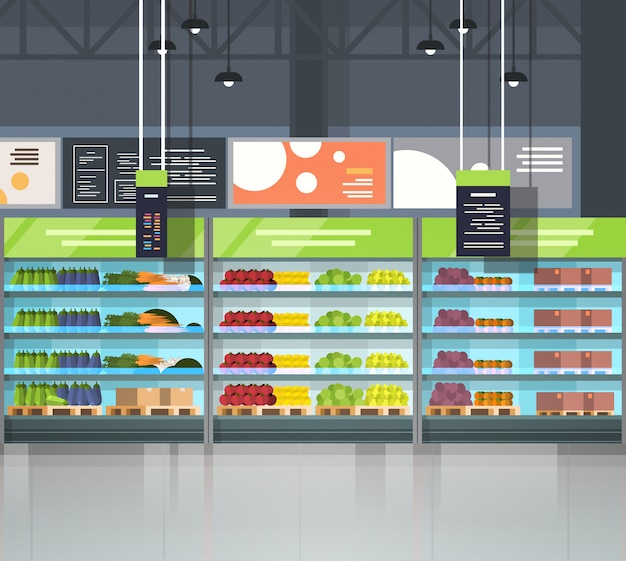 Modern super market empty interior retail store, supermarket with assortment of grocery food