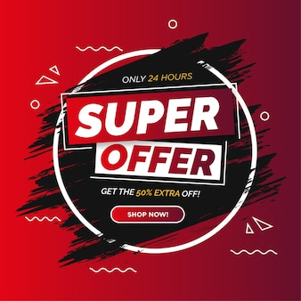 Modern super offer banner with brush stroke background