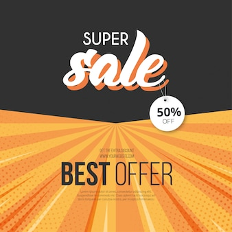 Modern super sale banner template