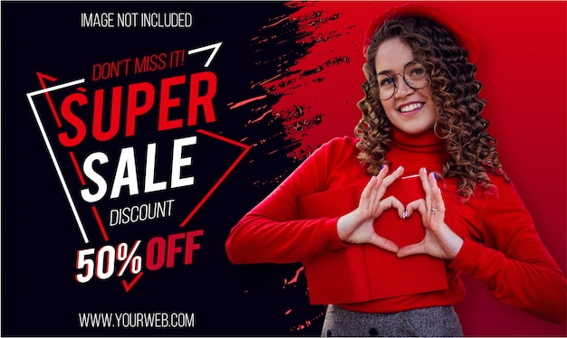 Modern super sale banner with red paint brush
