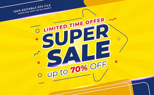 Modern super sale banner on yellow and blue background