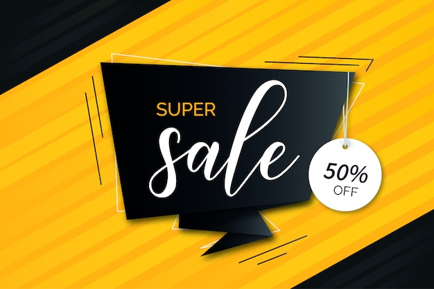 Modern super sale orange background with black origami