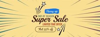 Modern super sale vector banner template