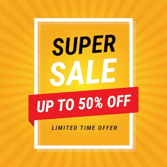 Modern super sale yellow banner design