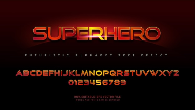 Modern superhero alphabet fonts with text effect
