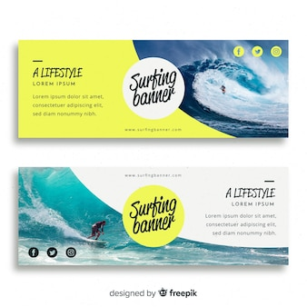 Modern surf banners with photo