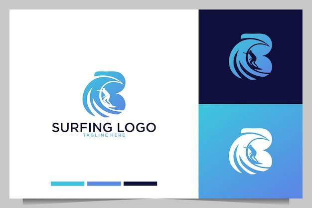 Современный серфинг с дизайном логотипа буква b