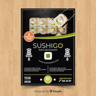 Modern sushi restaurant flyer template