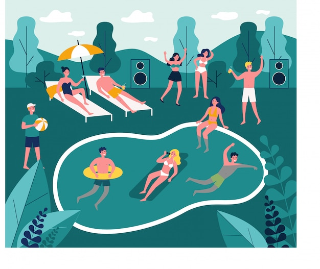 Modern swimming pool party   illustration