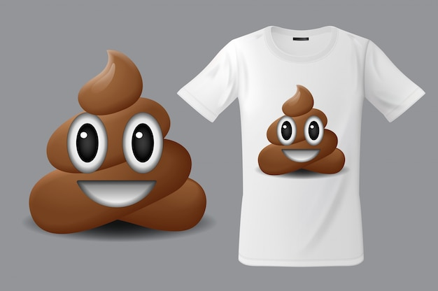 Modern t-shirt print design with shit emoticon, smiling face, emoji, use for sweatshirts, souvenirs and other uses, illustration.