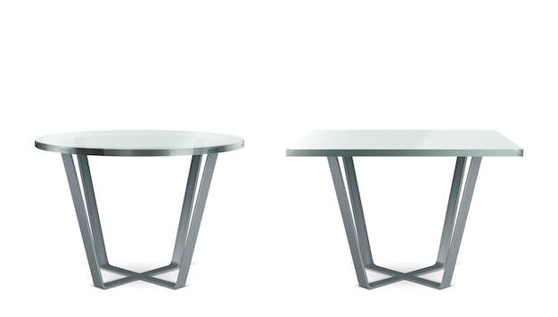 Modern tables with round and square glass top. realistic set of cocktail, coffee or dining table with metal cross legs and clear plexiglass top isolated on white background