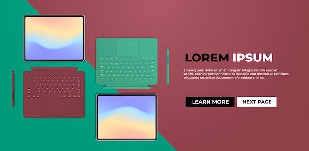 Современный планшетный компьютер с клавиатурой и цветным экраном
