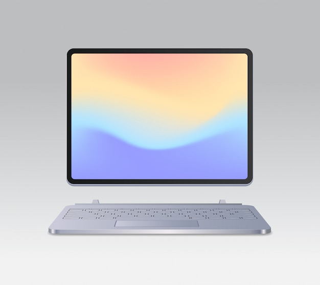 Modern tablet computer with keyboard and colored screen realistic mockup gadgets and devices concept vector illustration