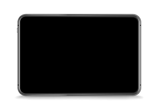 白で隔離の現代のタブレットデバイスベクトルモックアップ。画面にコンテンツを配置します