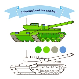 Modern tank military toy coloring book for children