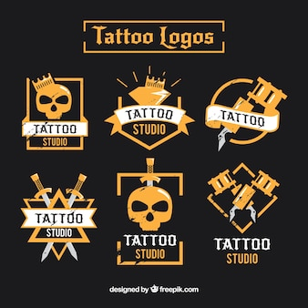 Modern tattoo logo collection