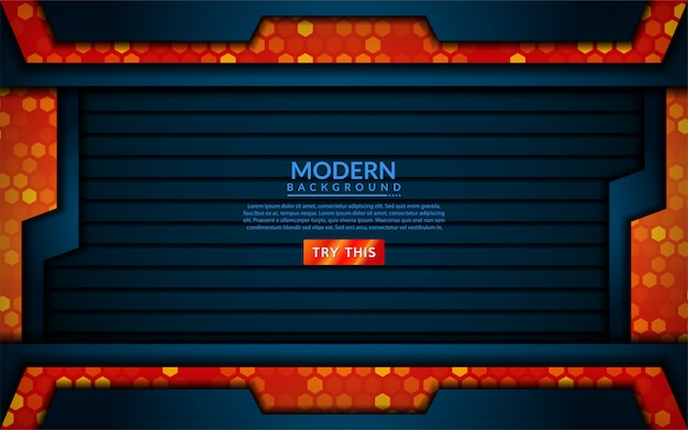 Modern tech blue combine with orange background
