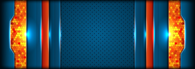Modern tech blue and orange background with abstract style