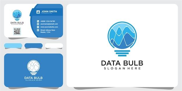 현대 기술 전구 로고 디자인 개념, 픽셀 기술 전구 아이디어 로고 템플릿. 명함이 있는 전구 데이터 분석 로고 디자인