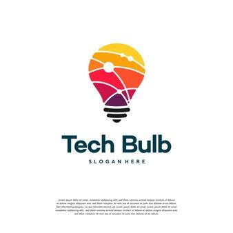 현대 기술 전구 로고 디자인 개념, 픽셀 기술 전구 아이디어 로고 템플릿
