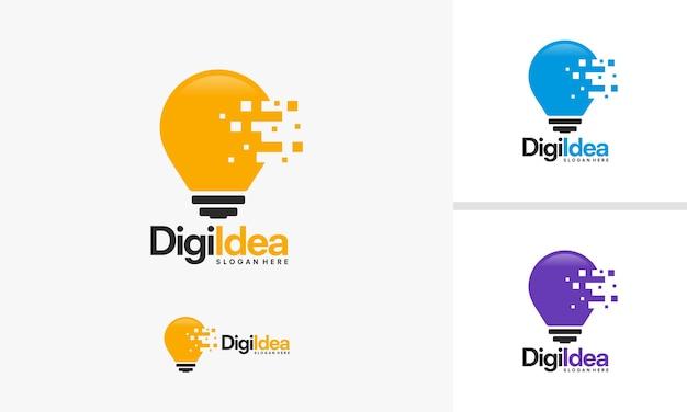 현대 기술 전구 로고 디자인 개념, 픽셀 기술 전구 아이디어 로고