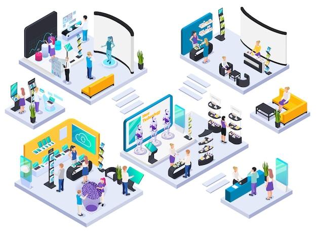 現代の技術的な電子革新的な生産展示ホールのアイソメ図