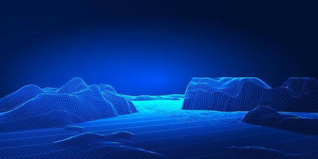 Modern techno wireframe landscape banner design