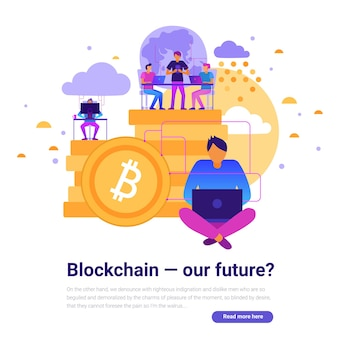 Blockchain 및 미래 기호 평면 벡터 일러스트와 함께 현대 기술 디자인