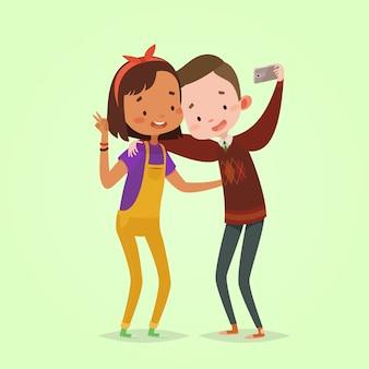子供のための最新技術。写真を作る男の子と女の子の友達。