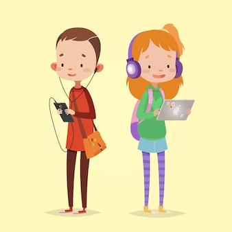 아이들을위한 현대 기술. 태블릿 및 헤드폰 소녀입니다. 스마트 폰 및 헤드폰 소년입니다.