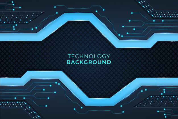 Современный технологический фон с геометрическими фигурами, схемами и огнями голубого и темного цвета.