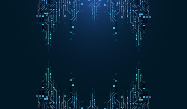 Modern technology circuit board texture background design. quantum computer technologies concepts, large data processing. futuristic blue circuit board background. minimal vector motherboard.
