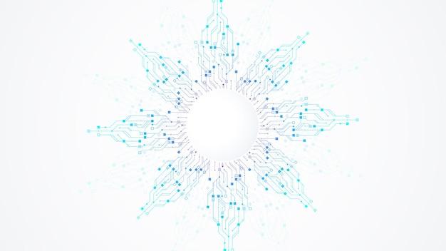 현대 기술 회로 기판 질감 배경 디자인입니다. 양자 컴퓨터 기술 개념, 대용량 데이터 처리. 미래의 파란색 회로 기판 배경입니다. 최소한의 벡터 마더보드.