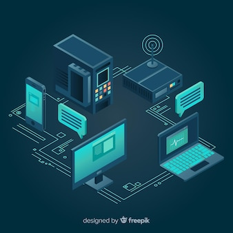 Modern technology composition with isometric view