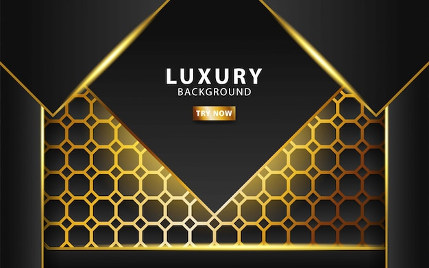 Modern technology dark abstract background with gold line and golden rays, overlap layer in paper effect on textured gold hexagon background